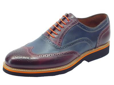Articolo Scarpe eleganti per uomo Mercanti Fiorentini in pelle satinata blu e bordò