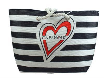 CafèNoir IBC931 Bianco Nero borsa effetto tela mare manici in corda