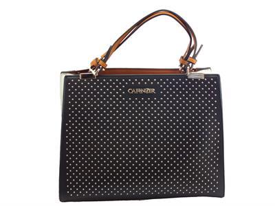 CafèNoir IBF161 Nero Bianco borsa con manici e tracollina ecopelle nero bulloncini argento