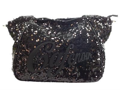 Articolo CafèNoir IBT201 Nero borsa monospalla con tracollina in paiettes nere