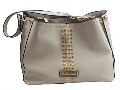 Articolo CafèNoir IBZ161 Perla borsa con monospalla in ecopelle perla bulloncini oro
