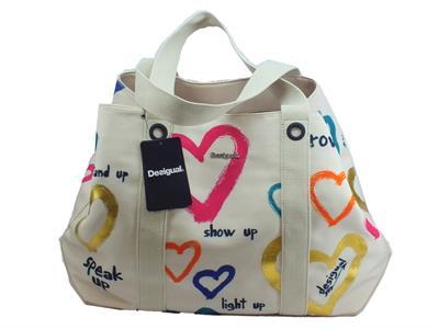 Articolo Desigual 19SAXF49 Natural Message Medina borsa shopping con manici in tessuto beige con messaggi