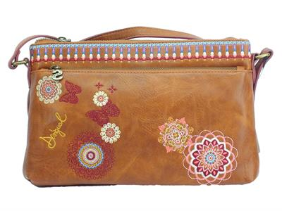Articolo Desigual 19SAXPEI Chandy Rio Zipper borsa shopping monospalla in ecopelle marrone con fiori