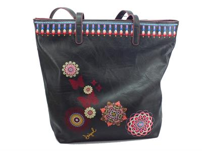Desigual 19SAXPEI Chandy Rio Zipper borsa shopping monospalla in ecopelle nero con fiori