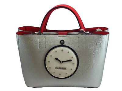 Articolo Borsa CafèNoir in ecopelle argento e rosso saffiano con orologio