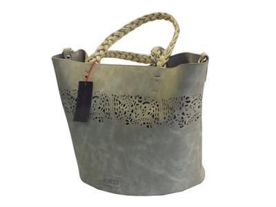 Articolo Borsa CafèNoir in ecopelle laserata grigia con borsa interna con manici e tracollina