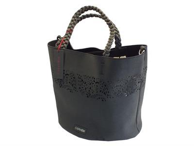 Borsa CafèNoir in ecopelle laserata nera con borsa interna con manici e tracollina
