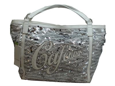 Articolo Borsa CafèNoir realizzata con paiettes bainco ed argento con manici