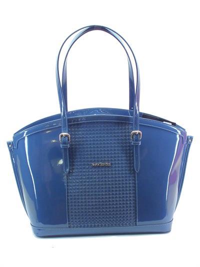 Borsa con manici NeroGiardini modello shopper colore vernice blu
