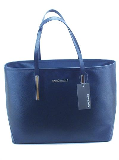 Borsa con manici NeroGiardini modello shopper in saffiano blue