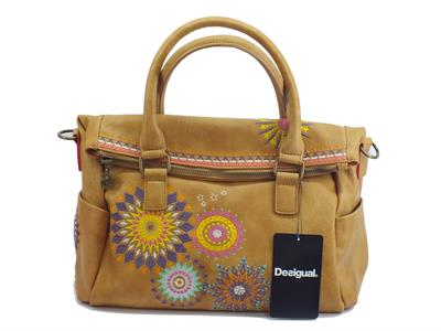 Borsa con risvolto Desigual Amelie Loverty in ecopelle beige
