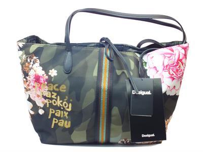 Articolo Borsa Desigual Capri Militar Flores Double face in tessuto militare e fiori