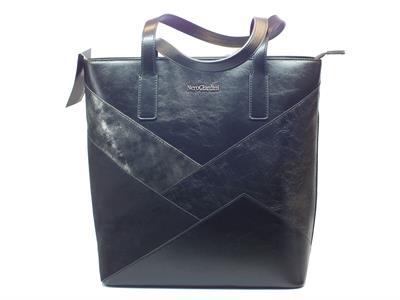 Borsa NeroGiardini in ecopelle nera shopper bag metal con manici