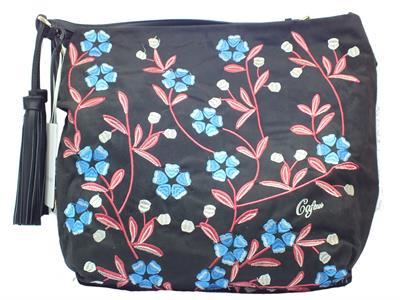 Shopping Bag CafèNoir in ecocamoscio nero con fiori cuciti e lampo