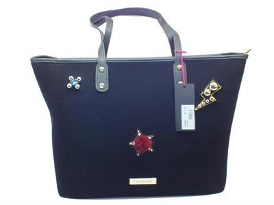 Articolo Shopping Bag CafèNoir in tessuto nero con applicazioni rimovibili a strappo