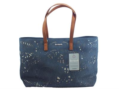 Articolo Shopping Bag Desigual Bols Hades Redmond in ecopelle laserata blu