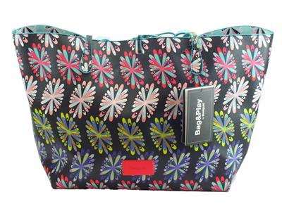 Articolo Shopping Bag & Play Desigual Frisbee Capri in ecopelle multifantasia nera