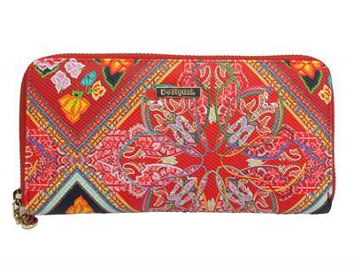 Desigual 19SAYP58 3105 Mone Folklore Cards Fiona Portafogli rosso per donna con lampo