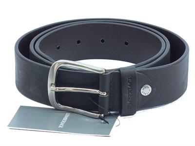 Cintura Lumberjack per uomo modello bull cuciture in pelle nera fibia anticata