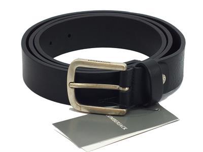 Articolo Cintura per uomo Lumberjack modello bull in pelle nera fibia anticata