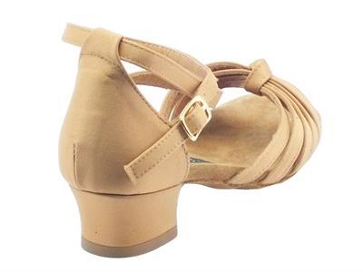 Dettagli su Scarpe da ballo latino americano per bambina in raso colore tanganica con tacco